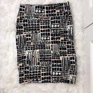 LuLaRoe Cassie Midi Pencil Skirt Cream Black